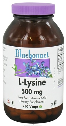 DROPPED: Bluebonnet Nutrition - L-Lysine Free-Form Amino Acid 500 mg. - 250 Vegetarian Capsules