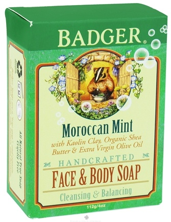 DROPPED: Badger - Handcrafted Face & Body Soap Moroccan Mint - 4 oz. CLEARANCE PRICED