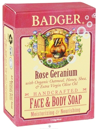 DROPPED: Badger - Handcrafted Face & Body Soap Rose Geranium - 4 oz. CLEARANCE PRICED
