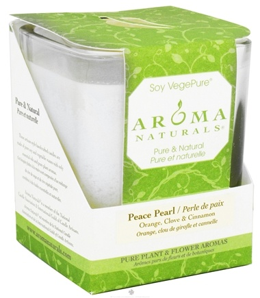 DROPPED: Aroma Naturals - Peace Pearl Soy VegePure Square Glass Eco-Candle Orange, Clove & Cinnamon