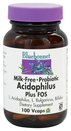 Bluebonnet Nutrition - Acidophilus Plus FOS Milk-Free Probiotic - 100 Vegetarian Capsules