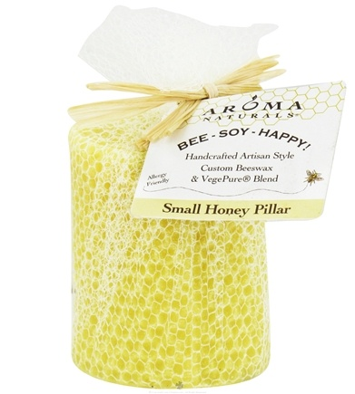 "DROPPED: Aroma Naturals - Bee Soy Happy Small Honey Pillar Eco-Candle 2"" x 2.75"" - CLEARANCE PRICED"