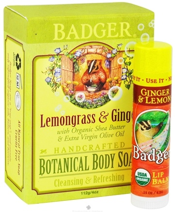 DROPPED: Badger - Botanical Gift Bag With Body Soap & Lip Balm Lemongrass & Ginger - CLEARANCE PRICED