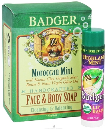 DROPPED: Badger - Botanical Gift Bag With Body Soap & Lip Balm Moroccan Mint - CLEARANCE PRICED