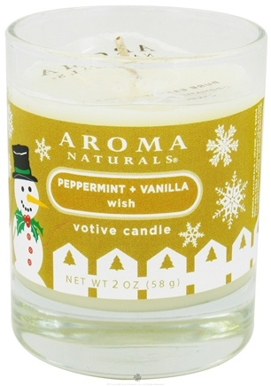 Aroma Naturals - Wish Holiday Soy VegePure Votive Glass Eco-Candle Peppermint & Vanilla