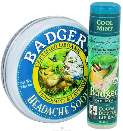 DROPPED: Badger - Aromatherapy Gift Bag With Headache Soother Balm and Cocoa Butter Lip Balm - CLEARANCE PRICED