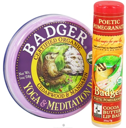 DROPPED: Badger - Aromatherapy Gift Bags Yoga & Meditation Balm With Cocoa Butter Lip Balm - CLEARANCE PRICED