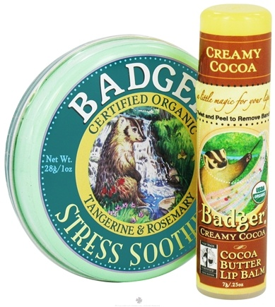DROPPED: Badger - Aromatherapy Gift Bag Stress Soother Balm With Creamy Cocoa Butter Lip Balm - CLEARANCE PRICED