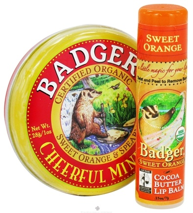 DROPPED: Badger - Aromatherapy Gift Bag Cheerful Mind Balm With Sweet Orange Lip Balm - CLEARANCE PRICED