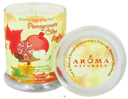 DROPPED: Aroma Naturals - Zhena's Gypsy Tea Pomegranate Cider Lights Harvest Glass Jar Eco-Candle Pomegranate, Spices & Apples - CLEARANCE PRICED
