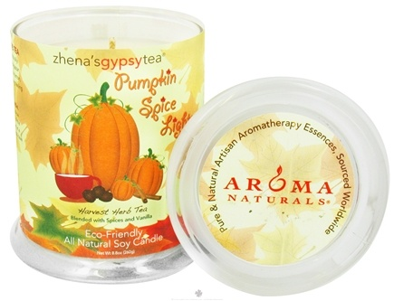 DROPPED: Aroma Naturals - Zhena's Gypsy Tea Pumpkin Spice Lights Harvest Glass Jar Eco-Candle Spices and Vanilla - CLEARANCE PRICED