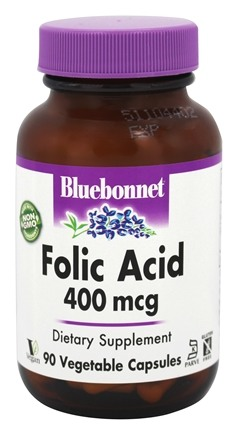 DROPPED: Bluebonnet Nutrition - Folic Acid 400 mcg. - 90 Vegetarian Capsules CLEARANCE PRICED