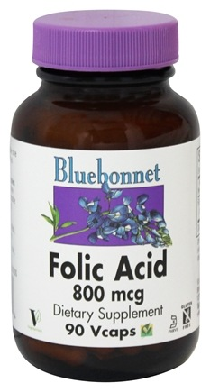 Bluebonnet Nutrition - Folic Acid 800 mcg. - 90 Vegetarian Capsules