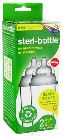 DROPPED: Steri-Bottle - Disposable Baby Bottles Fast Flow Nipples Ages 3 months and up - 2 Pack CLEARANCE PRICED