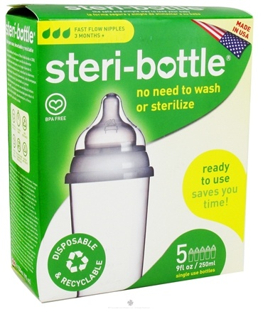 DROPPED: Steri-Bottle - Disposable Baby Bottles Fast Flow Nipples Ages 3 months and up - 5 Pack