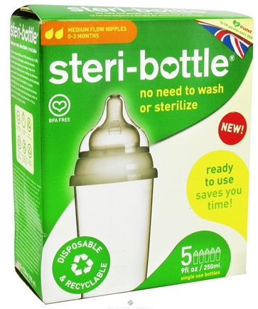 DROPPED: Steri-Bottle - Disposable Baby Bottles Medium Flow Nipples Ages 0-3 months - 5 Pack