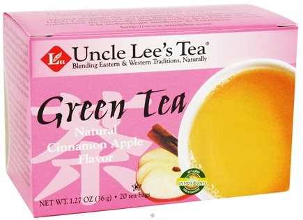 DROPPED: Uncle Lee's Tea - Green Tea Natural Cinnamon Apple - 20 Tea Bags CLEARANCE PRICED