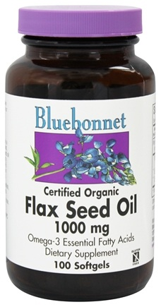 Bluebonnet Nutrition - Certified Organic Flax Seed Oil 1000 mg. - 100 Softgels