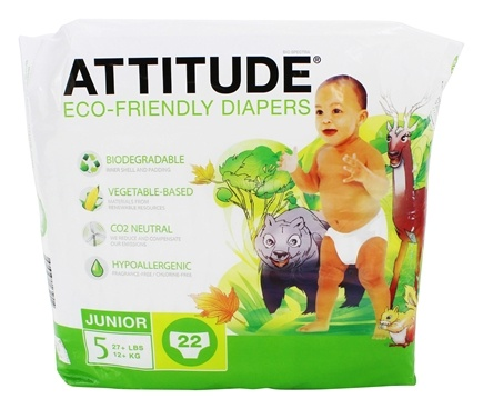DROPPED: Attitude - Eco-Friendly Baby Diapers Size 5 (27+ lbs) - 22 Diaper(s)