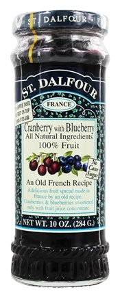 St. Dalfour - Fruit Spread 100% Natural Jam Cranberry with Blueberry - 10 oz.