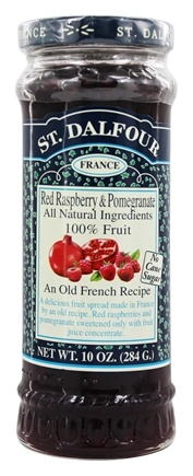 St. Dalfour - Fruit Spread 100% Natural Jam Red Raspberry & Pomegranate - 10 oz.
