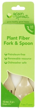 DROPPED: Green Sprouts - Plant Fiber Fork & Spoon 12+ Months Stage 4 - 1 Set(s) CLEARANCE PRICED