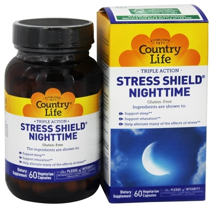 Country Life - Stress Shield Nighttime - 60 Capsules Contains Jujube