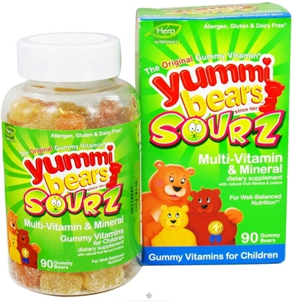 DROPPED: Hero Nutritional Products - Yummi Bears Sourz Multi-Vitamin & Mineral Gummy Vitamins for Children - 90 Gummies