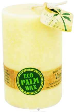 "DROPPED: Aloha Bay - Eco Palm Wax Pillar Candle 2.25"" x 3.5"" Vanilla Bean - CLEARANCE PRICED"