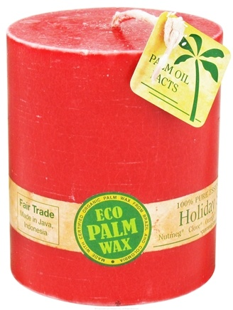 "DROPPED: Aloha Bay - Eco Palm Wax Pillar Candle 3"" x 3.5"" Holiday Spice"
