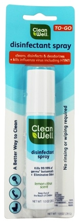 DROPPED: CleanWell - Disinfectant Spray To-Go Lemon Citrus Scent - 1 oz.