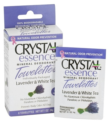 DROPPED: Crystal Body Deodorant - Crystal Essence Mineral Deodorant Towelettes Lavender & White Tea - 6 Towelette(s) CLEARANCE PRICED