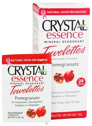 DROPPED: Crystal Body Deodorant - Crystal Essence Mineral Deodorant Towelettes Pomegranate - 24 Towelette(s) CLEARANCE PRICED