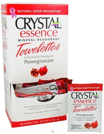 DROPPED: Crystal Body Deodorant - Crystal Essence Mineral Deodorant Towelette Pomegranate - 0.1 oz. CLEARANCE PRICED