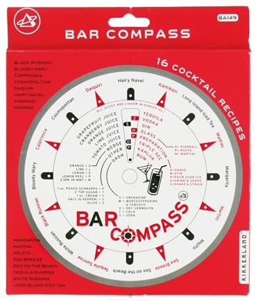 DROPPED: Kikkerland - Bar Compass with 16 Cocktail Recipes