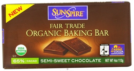 DROPPED: SunSpire - Organic Baking Bar 65% Cacao Semi-Sweet Chocolate - 4 oz. CLEARANCE PRICED
