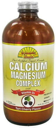 DROPPED: Dynamic Health - Calcium Magnesium Complex with Vitamin D3 Tart Cherry Flavor - 16 oz. CLEARANCE PRICED