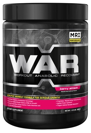DROPPED: MRI: Medical Research Institute - WAR Workout Anabolic Recovery Berry Attack - 21 oz. CLEARANCE PRICED