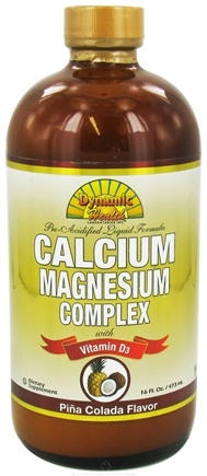 DROPPED: Dynamic Health - Calcium Magnesium Complex with Vitamin D3 Pina Colada Flavor - 16 oz. CLEARANCE PRICED