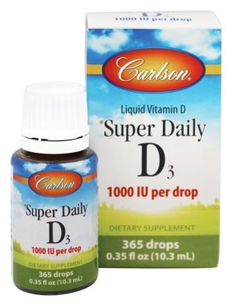 Carlson Labs - Super Daily D3 Liquid Vitamin D 365 Drops 1000 IU - 0.35 oz.