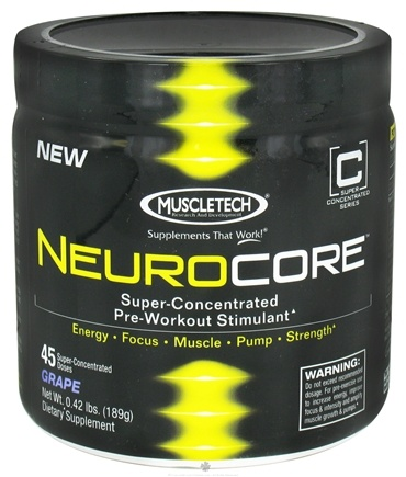 DROPPED: Muscletech Products - NeuroCore Super-Concentrated Pre-Workout Stimulant 45 Servings Grape - 0.42 lbs.