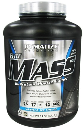 DROPPED: Dymatize Nutrition - Elite Mass Gainer Hi-Protein Muscle Gainer Vanilla Ice Creme - 6 lbs. CLEARANCE PRICED