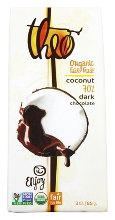 Theo Chocolate - Classic Collection Organic Dark Chocolate 70% Cacao Toasted Coconut - 3 oz.