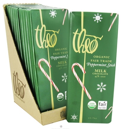 DROPPED: Theo Chocolate - Classic Collection Organic Milk Chocolate 45% Cacao Peppermint Stick - 3 oz.