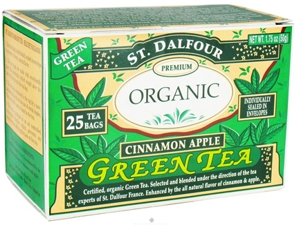 DROPPED: St. Dalfour - Green Tea Premium Organic Cinnamon Apple - 25 Tea Bags CLEARANCE PRICED