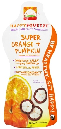 DROPPED: HappyBaby - HappySqueeze Organic Superfruit + Supergrains Smoothie Super Orange + Pumpkin - 4.22 oz.