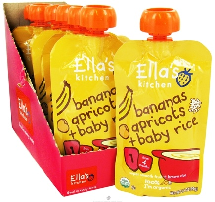DROPPED: Ella's Kitchen - Organic Baby Food Stage 1 For 4 Months & Older Bananas, Apricots and Baby Rice - 3.5 oz. CLEARANCE PRICED