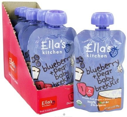 DROPPED: Ella's Kitchen - Organic Baby Brekkie Stage 1 for 6 Months & Older Blueberry and Pear - 3.5 oz. CLEARANCE PRICED