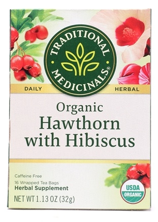 Traditional Medicinals - Organic Hawthorn with Hibiscus Herbal Tea - 16 Tea Bags (Formerly Heart Tea)