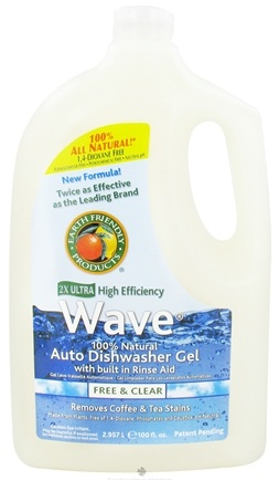 DROPPED: Earth Friendly - Wave Auto Dishwasher Gel 100% Natural 2X Ultra High Efficiency Free & Clear - 100 oz.